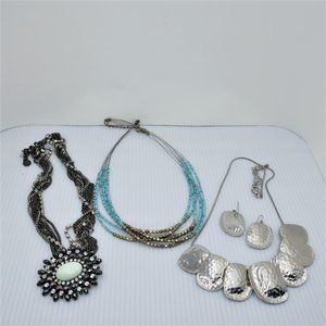 Three Fashion Necklaces, One w/ Matching Earrings